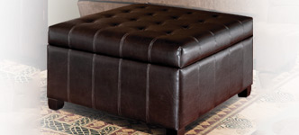 Isabella Bonded Leather Storage Ottoman