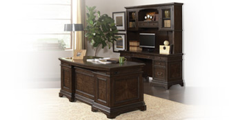 Andover Executive Desk and Credenza with Hutch