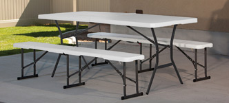 Lifetime 6' Fold-in-Half Table with 2 Fold-in-Half Benches