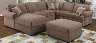Castle Harbor Fabric Sectional with Storage Ottoman