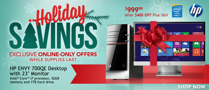"HP ENVY 700qe Desktop with 23"" Monitor, Intel® Core™ i7 Processor, 32GB Memory and 1TB Hard Drive  $999.99 After $400 OFF Plus S&H"