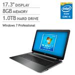 HP Pavilion 17t Windows 7 Professional Laptop