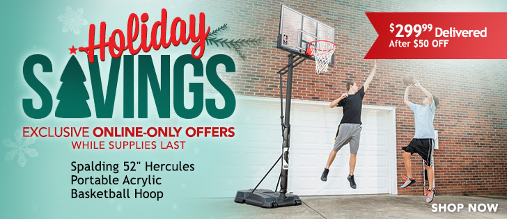 """Online-only offers. While supplies last. Spalding 52"""" Portable Basketball System. $299.99 Delivered After $50 OFF. Click Here."""