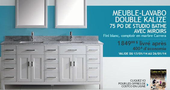 Meuble-lavabo double Kalize 75 po avec miroirs de Studio ...