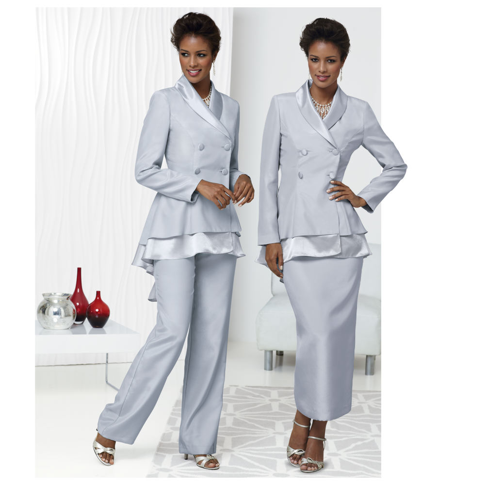 Masseys Fishtail 3-Piece Wardrober Grey,Silver Suits 24W