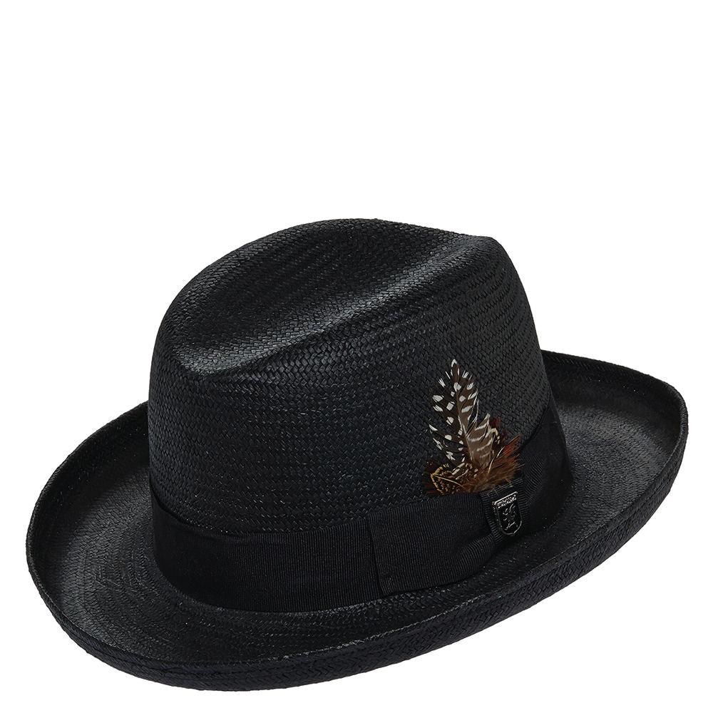 Stacy Adams Men's Homburg Straw Hat Black Hats XL