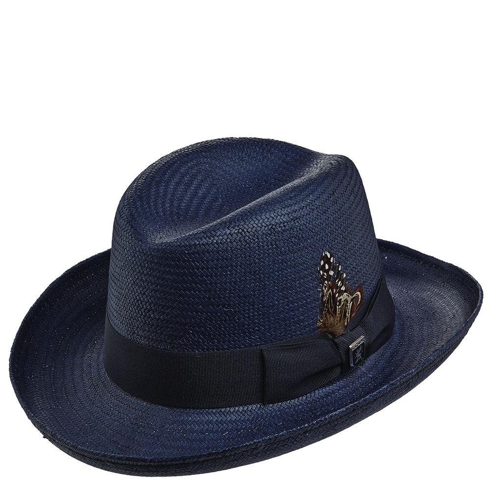 Stacy Adams Men's Homburg Straw Hat Navy Hats XL