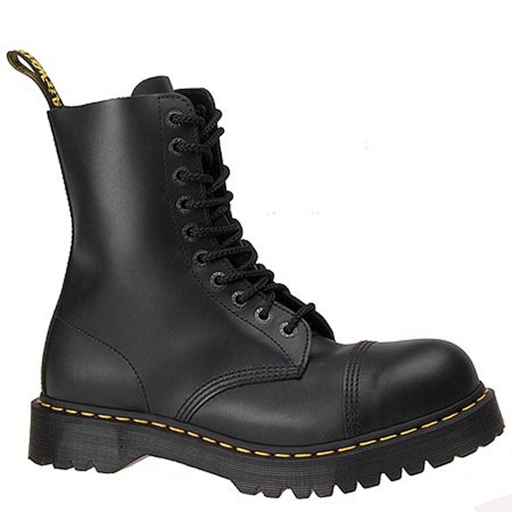 Dr Martens Men's 8761 10 Eye Cap Steel Toe Black Boot UK ...