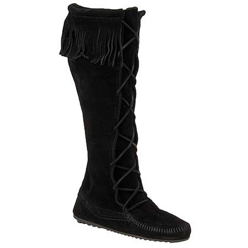 Minnetonka Women's Front Lace Hardsole Black Boot 6 M