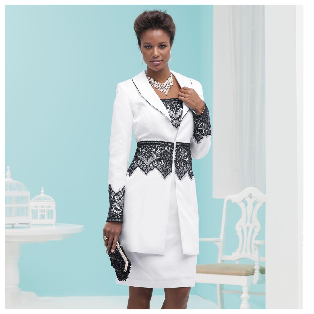 Lace-Trim Suit Dress White Suits 14