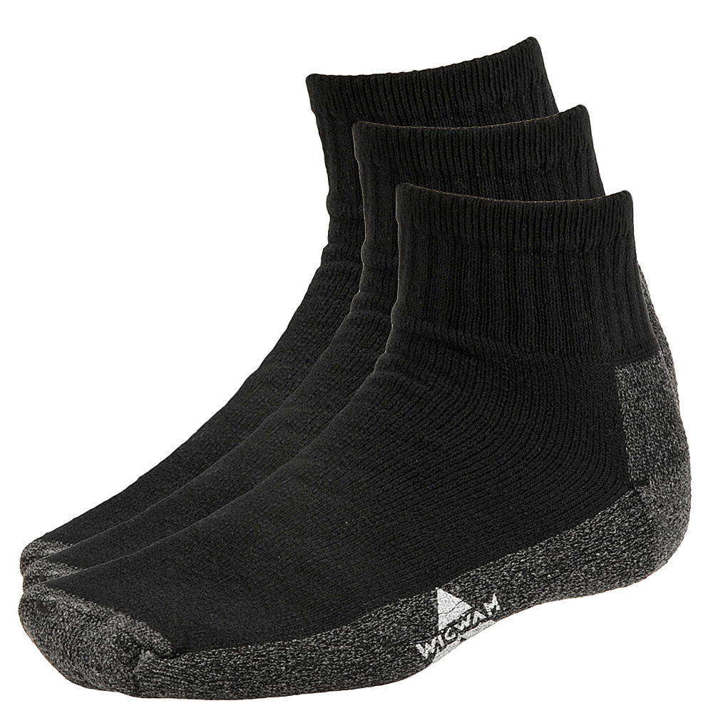 Wigwam At Work Quarter 3 Pack Quarter Socks 635863BLK1XL