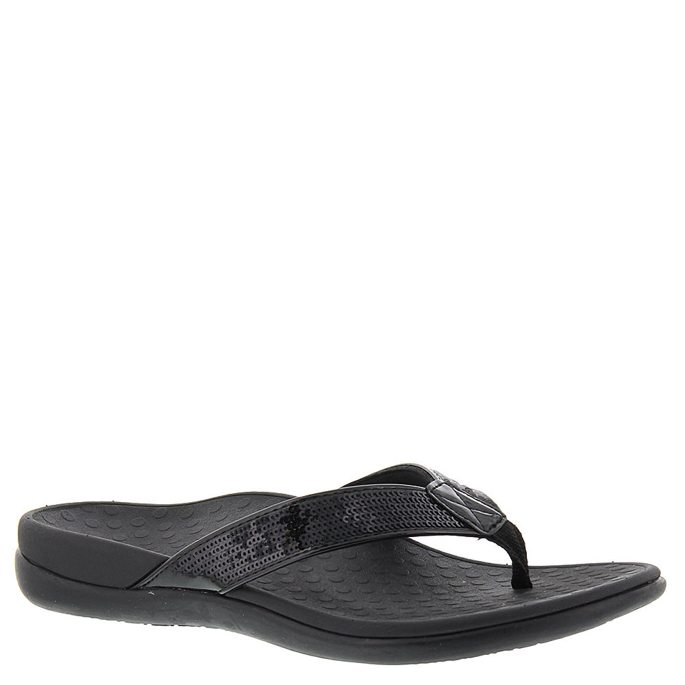 Vionic with Orthaheel Tide Sequins Women's Black Sandal 6 M