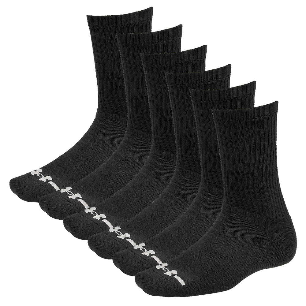 Under Armour Charged Cotton Crew Socks 6 pk (Men's) 634857BLKMED