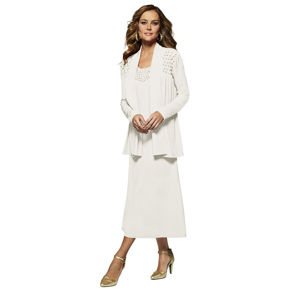 Masseys Studded Jacket Dress White Dresses 18W