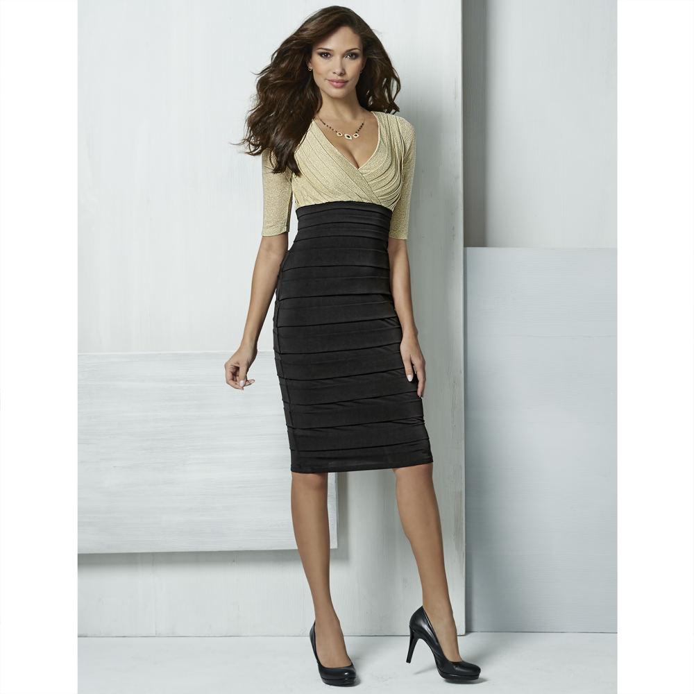 Masseys Duotone Shutter Pleat Dress Black Dresses 12