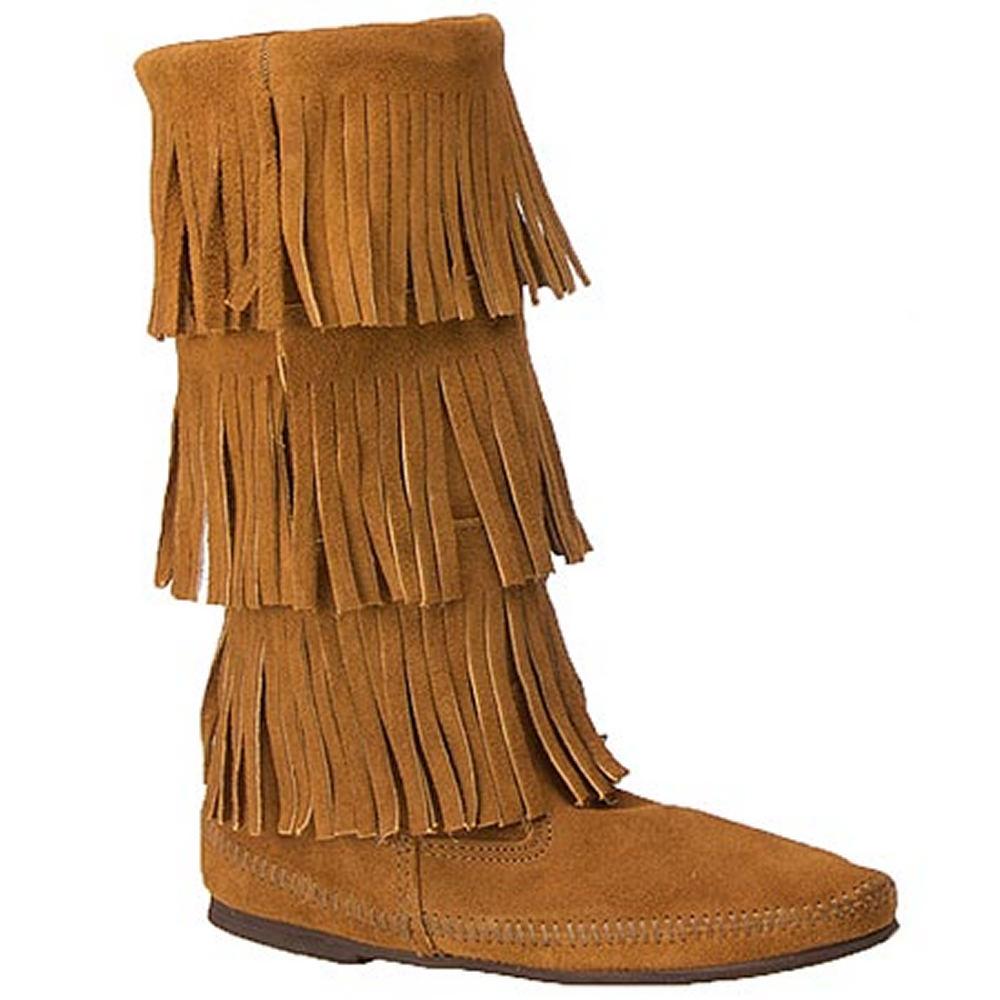 Minnetonka Calf Hi 3-Layer Fringe  Women's Brown Boot 6 M