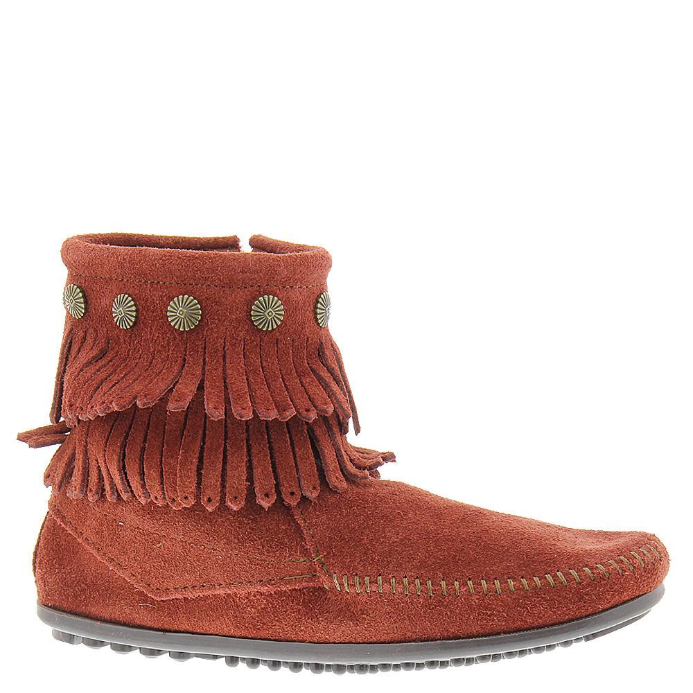 Minnetonka Double Fringe Side Zip  Women's Brown Boot 8 M