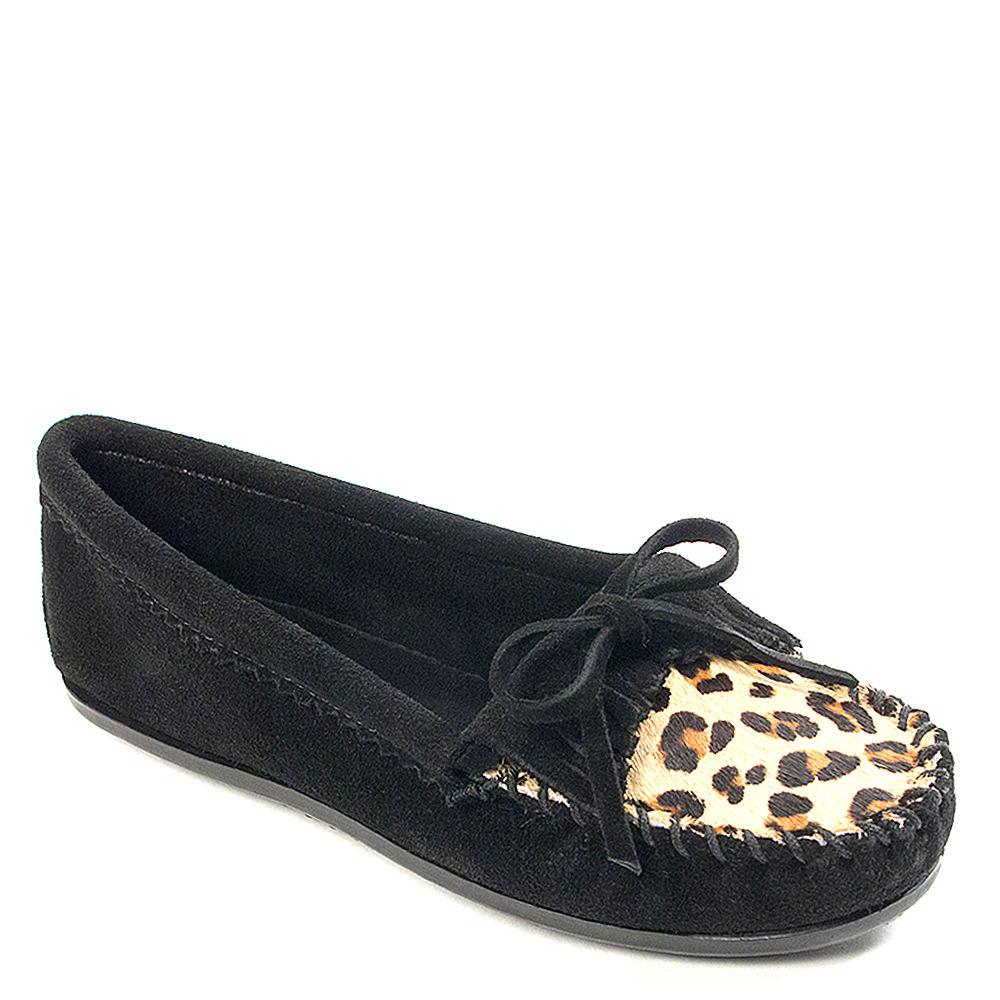 Minnetonka Leopard Kilty Moc Women's Black Slip On 7.5 M