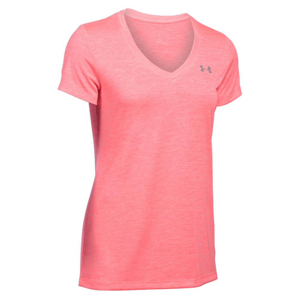 Under Armour Twisted Tech V-Neck Top women's Pink Knit Tops S 707793MVES