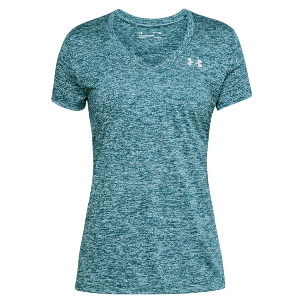 Under Armour Twisted Tech V-Neck Top women's Green Blue Knit Tops S 707793TEAS