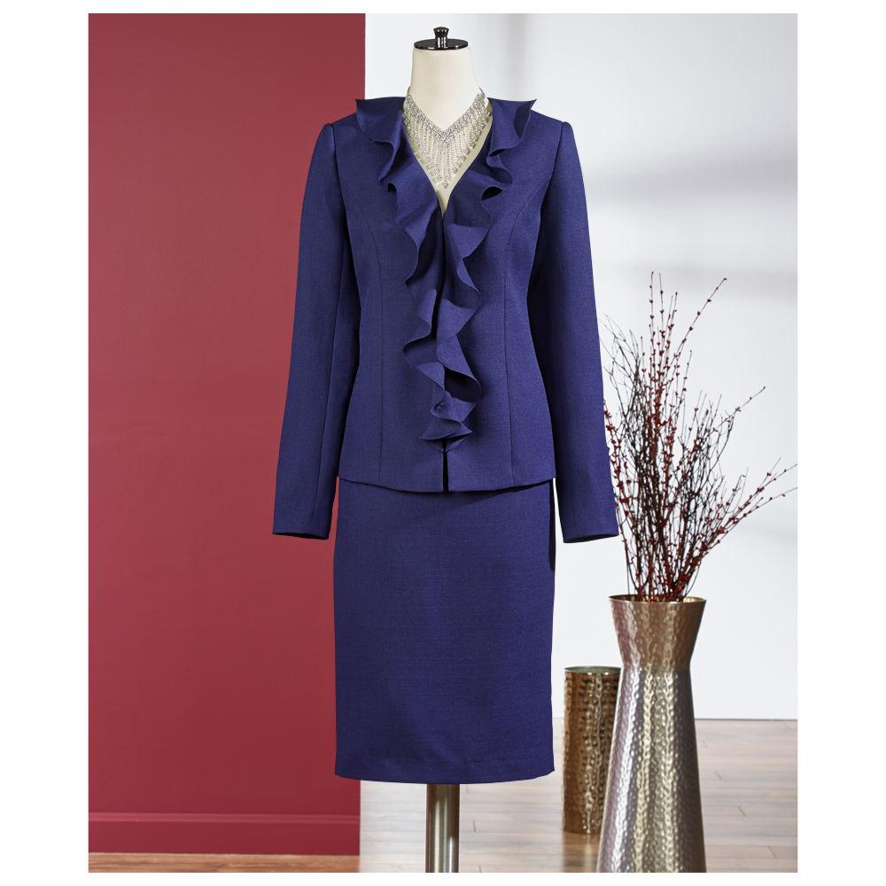 Serafina Ladies Flared Skirt Suit With Ruffle Design Bell Sleeve Jacket: Purple. Sizes 10, $ Serafina Flounce Hem Skirt Set With Embellished Design: Purple. Sizes $ Serafina BlackGold - Flounce Hem Skirt Set With Cape Style Peplum Jacket: Black / Gold.