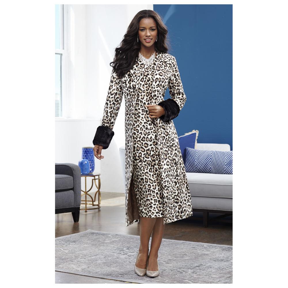 Fur-Trimmed Leopard Jacket Dress Brown Suits 18W
