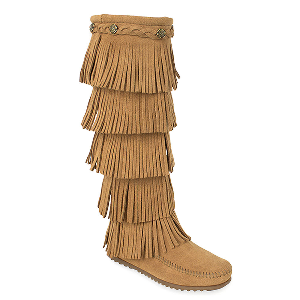 Minnetonka 5-Layer Fringe  Women's Tan Boot 11 M
