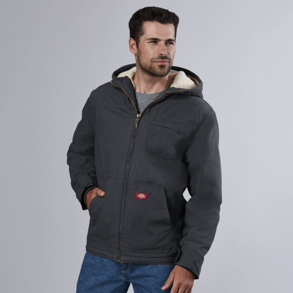 Dickies Men's Sanded Duck Sherpa Hooded Jacket Black Jack...