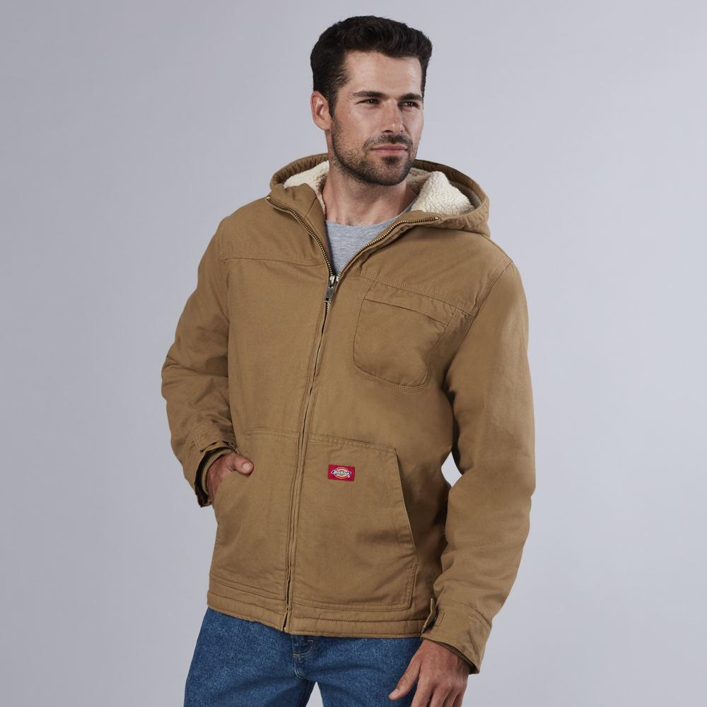 Dickies Men's Sanded Duck Sherpa Hooded Jacket Brown Jack...