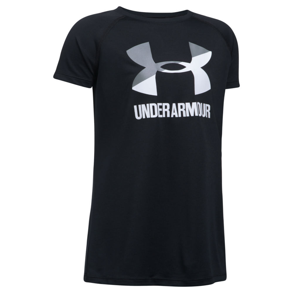 Under Armour Girls' Solid Big Logo SS Tee Black Knit Tops S 818919BKTS