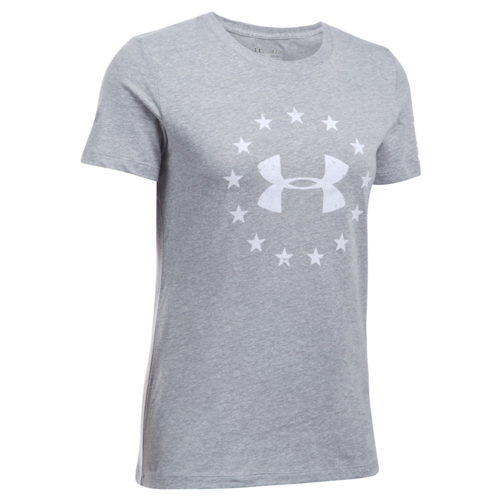 Under Armour Women's Freedom Logo Tee Grey Knit Tops XL 709642HGRXL
