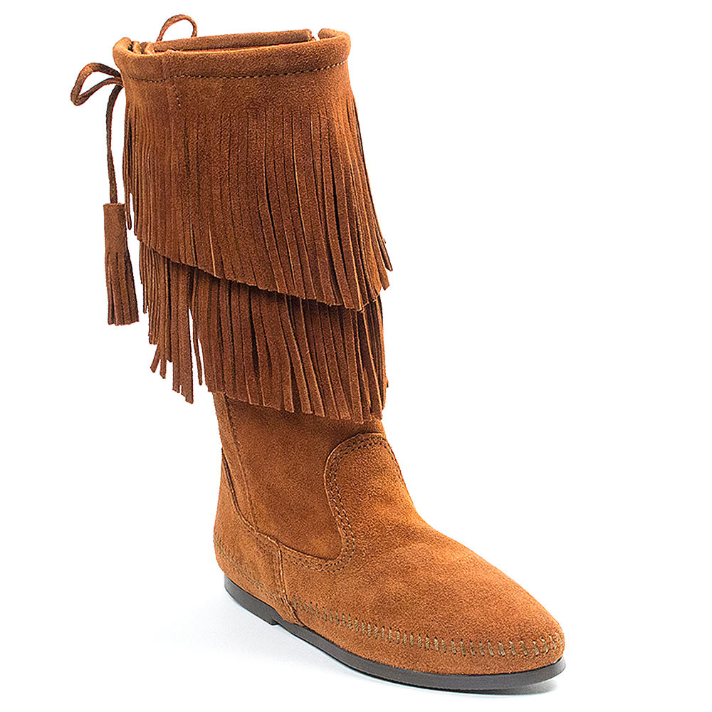 Minnetonka 2-Layer Fringe  Women's Brown Boot 8 M