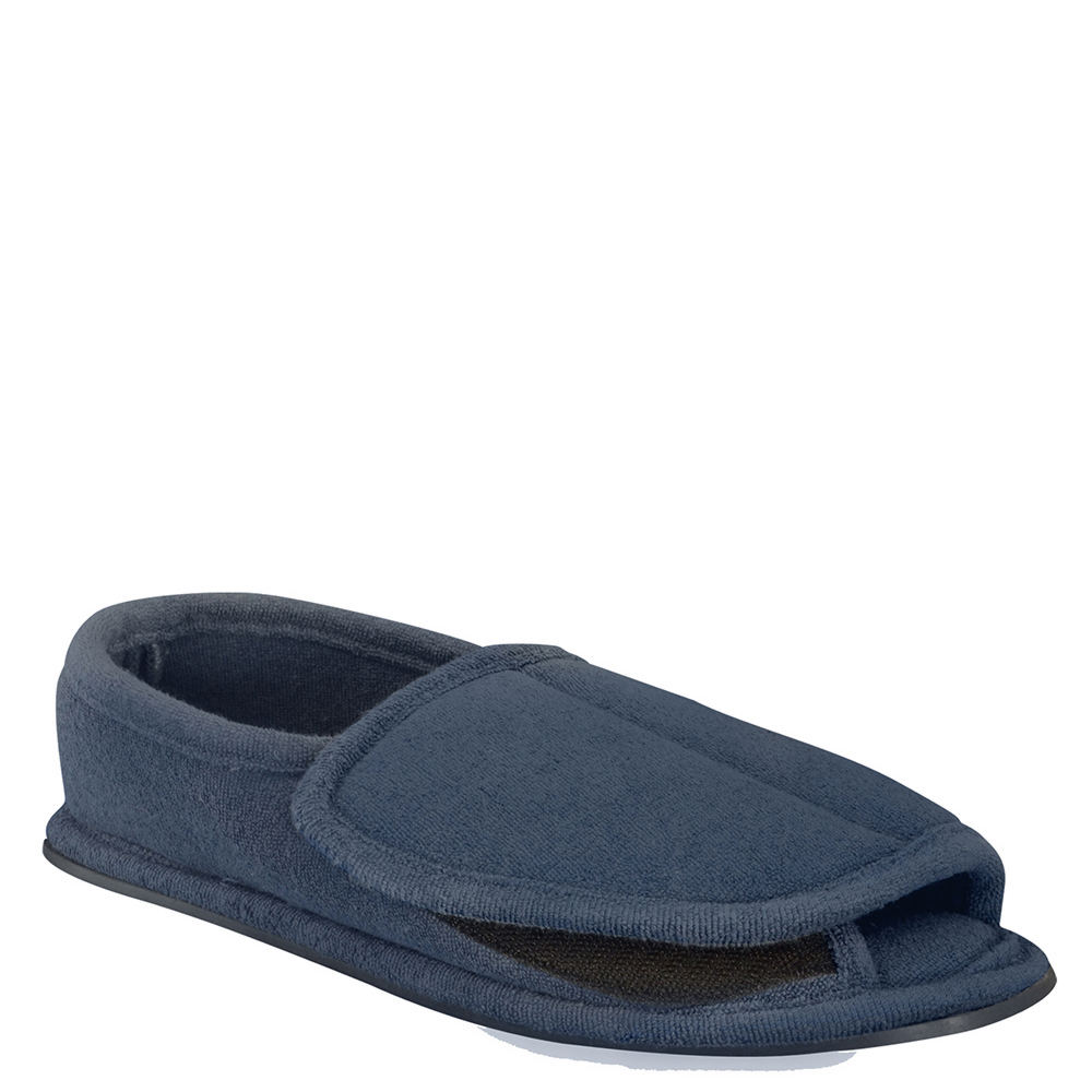 MUK LUKS Adjustable Open Toe Full Foot Men's Navy Slipper...