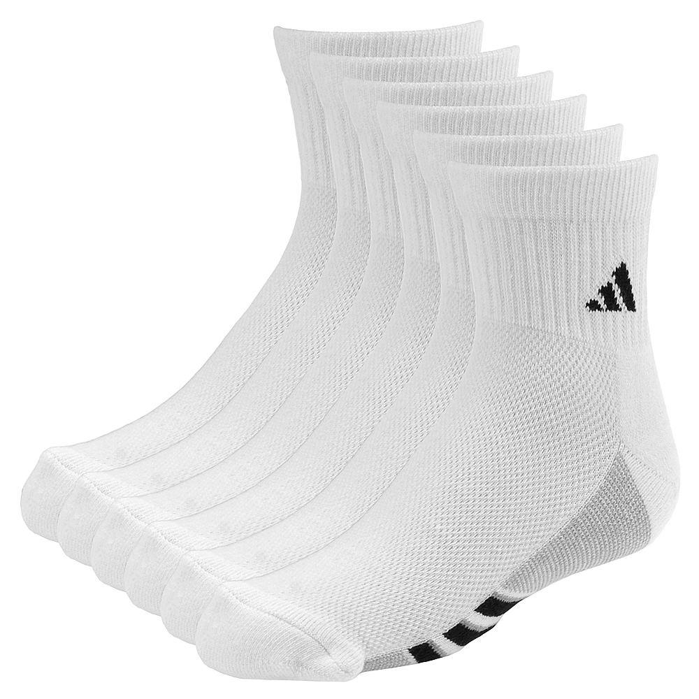 adidas Boys' Graphic 6-Pack Quarter Socks 819779WHTMED