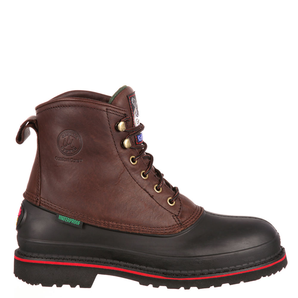 "Georgia Boot Muddog 6"" Safety Toe Men's Brown Boot 8.5 W"