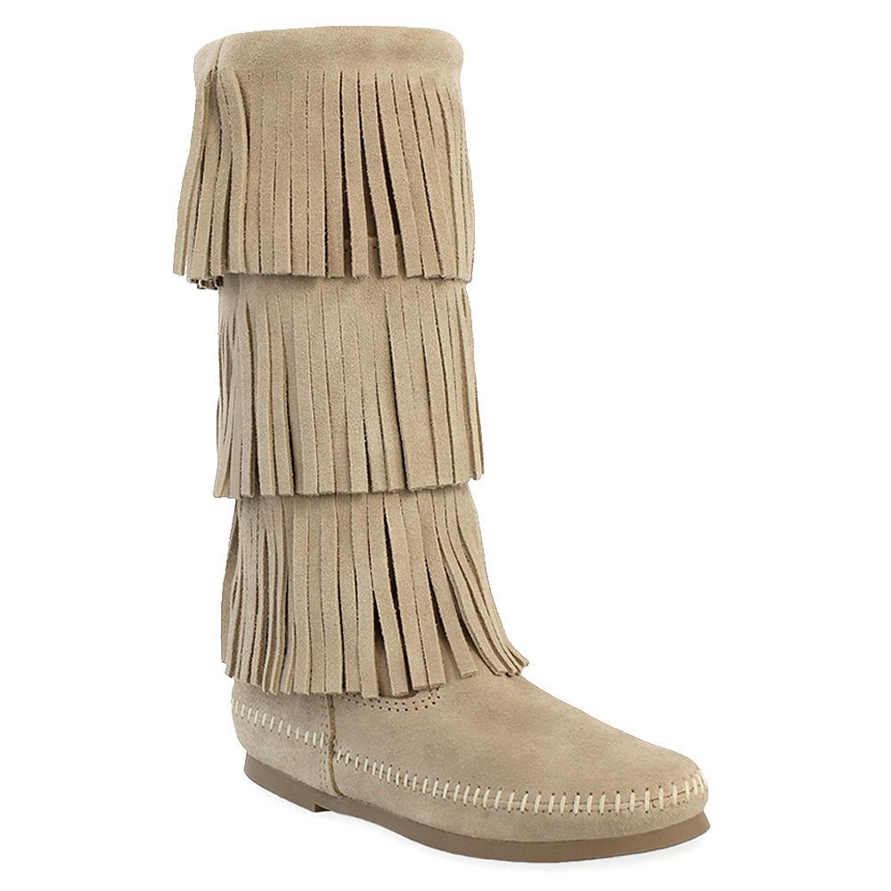 Minnetonka 3-Layer Fringe  Women's Bone Boot 10 M