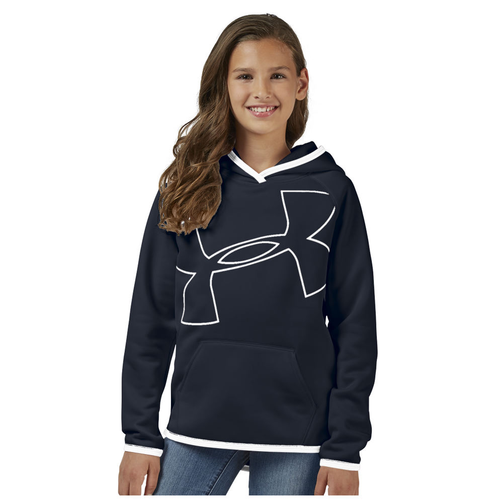 Under Armour Girls' Big Logo Hoodie Black Knit Tops M 820497BLKM
