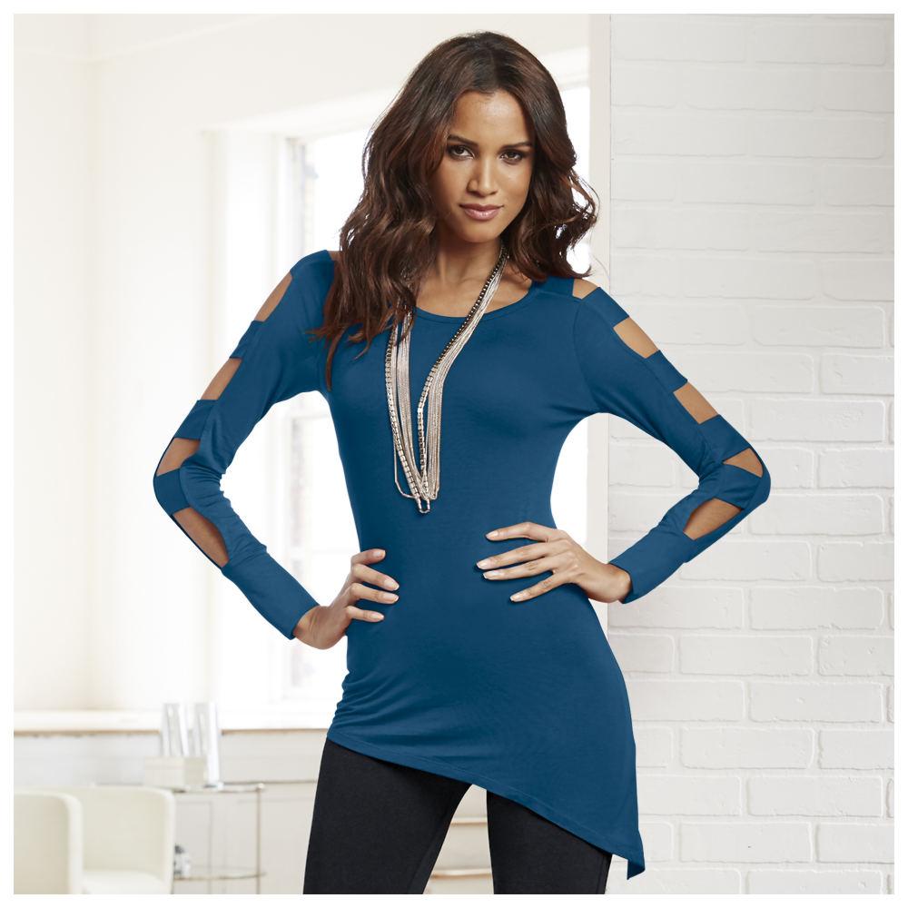 Ladder Sleeve Tunic Blue Knit Tops XL 710408BLUXL