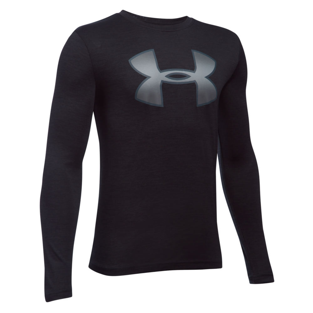 Under Armour Boys' Tech Novelty Big Logo LS Tee Black Knit Tops S 820918BLKS