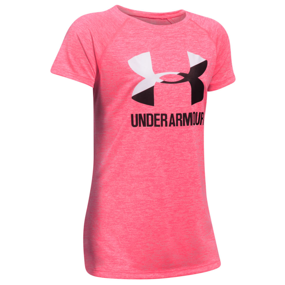 Under Armour Girls' Novelty Big Logo SS Tee Pink Knit Tops S 820921PNKS