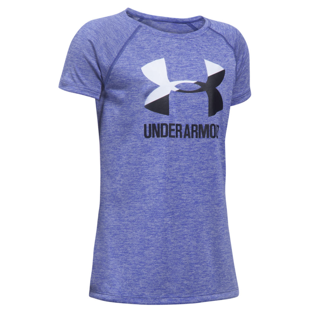 Under Armour Girls' Novelty Big Logo SS Tee Purple Knit Tops S 820921PRPS