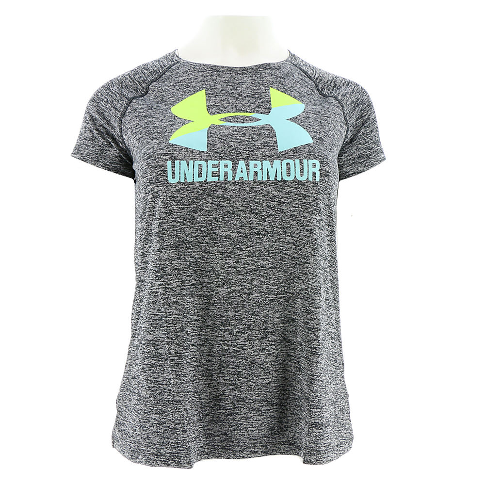 Under Armour Girls' Novelty Big Logo SS Tee Black Knit Tops M 820921BLHM