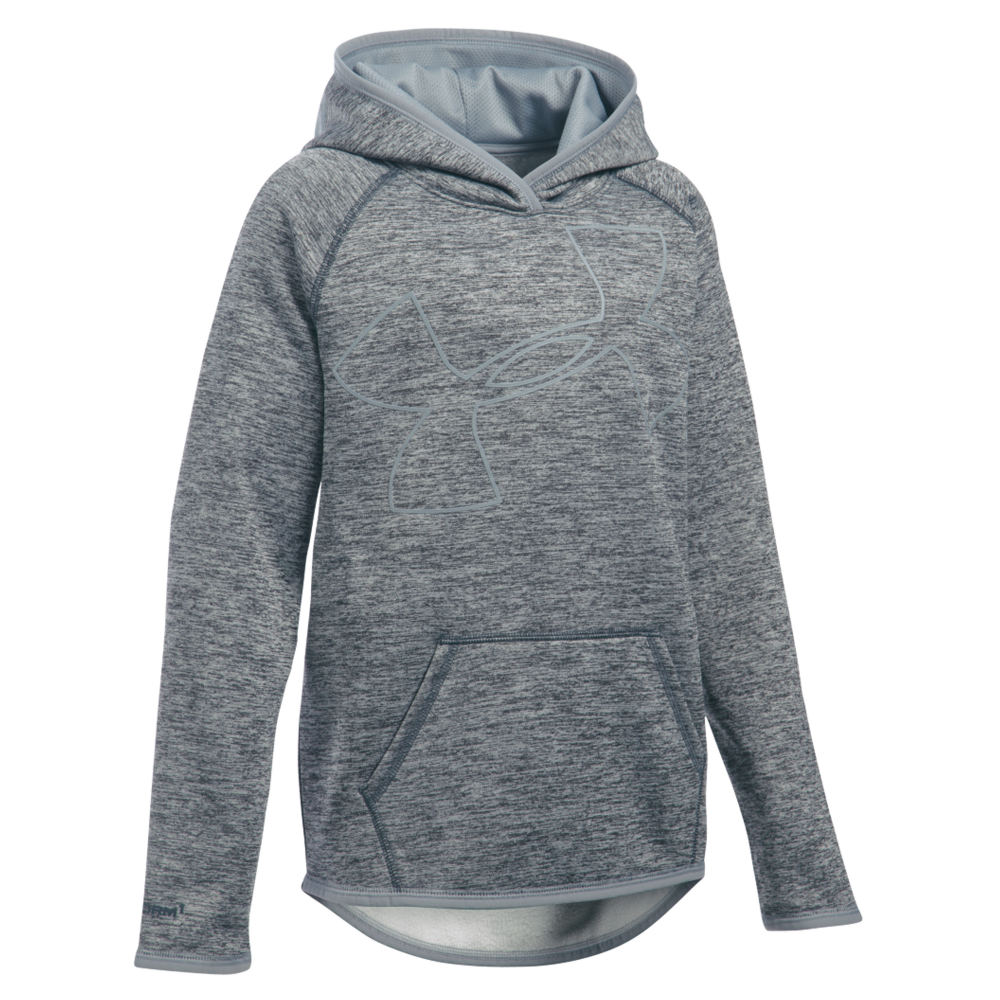 Under Armour Girls' Storm Armour Fleece Novelty Big Logo Hoodie Grey Knit Tops M 820922SLGM