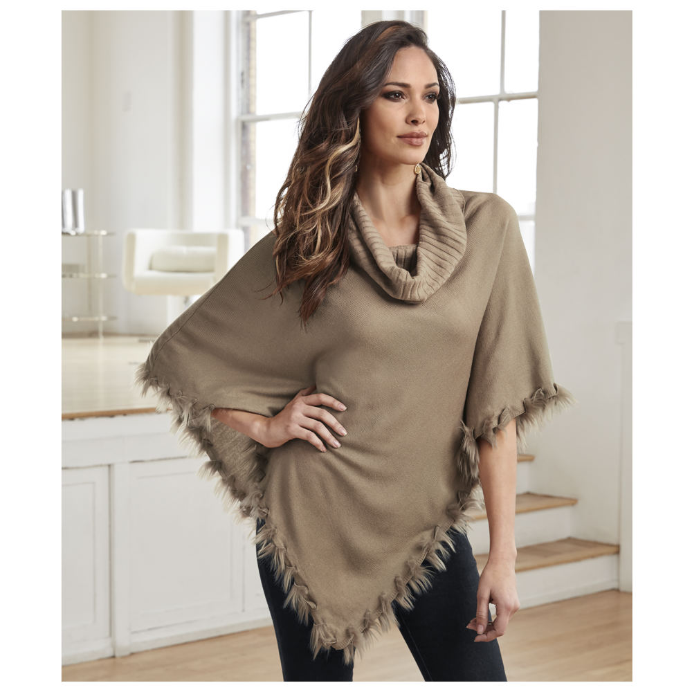 Fur-Trimmed Cowl Neck Poncho Brown Sweaters S