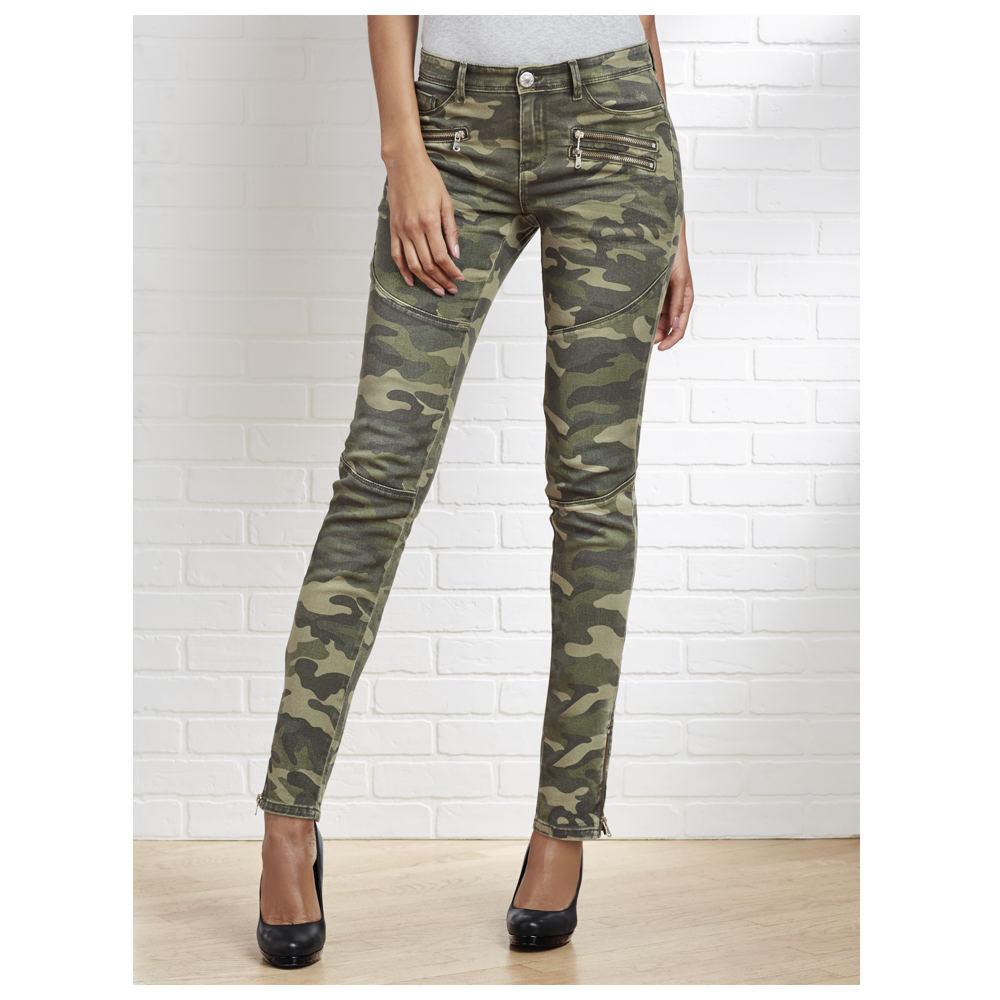 Camo Distressed Skinny Jeans Green Pants 12-Regular