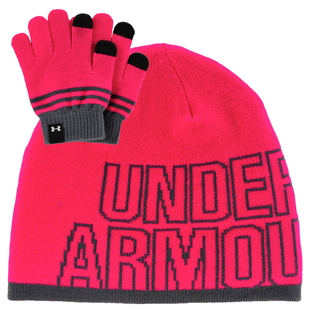 Under Armour Girls' Beanie and Glove Combo Pink Misc Accessories One Size 824310PNKOS
