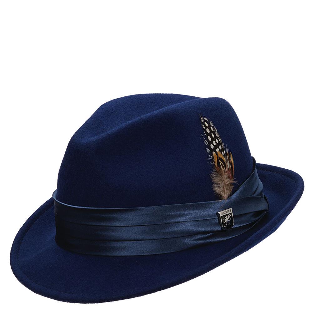 Stacy Adams Men's Wool Felt Fedora Blue Hats XL 643395RYL1XL