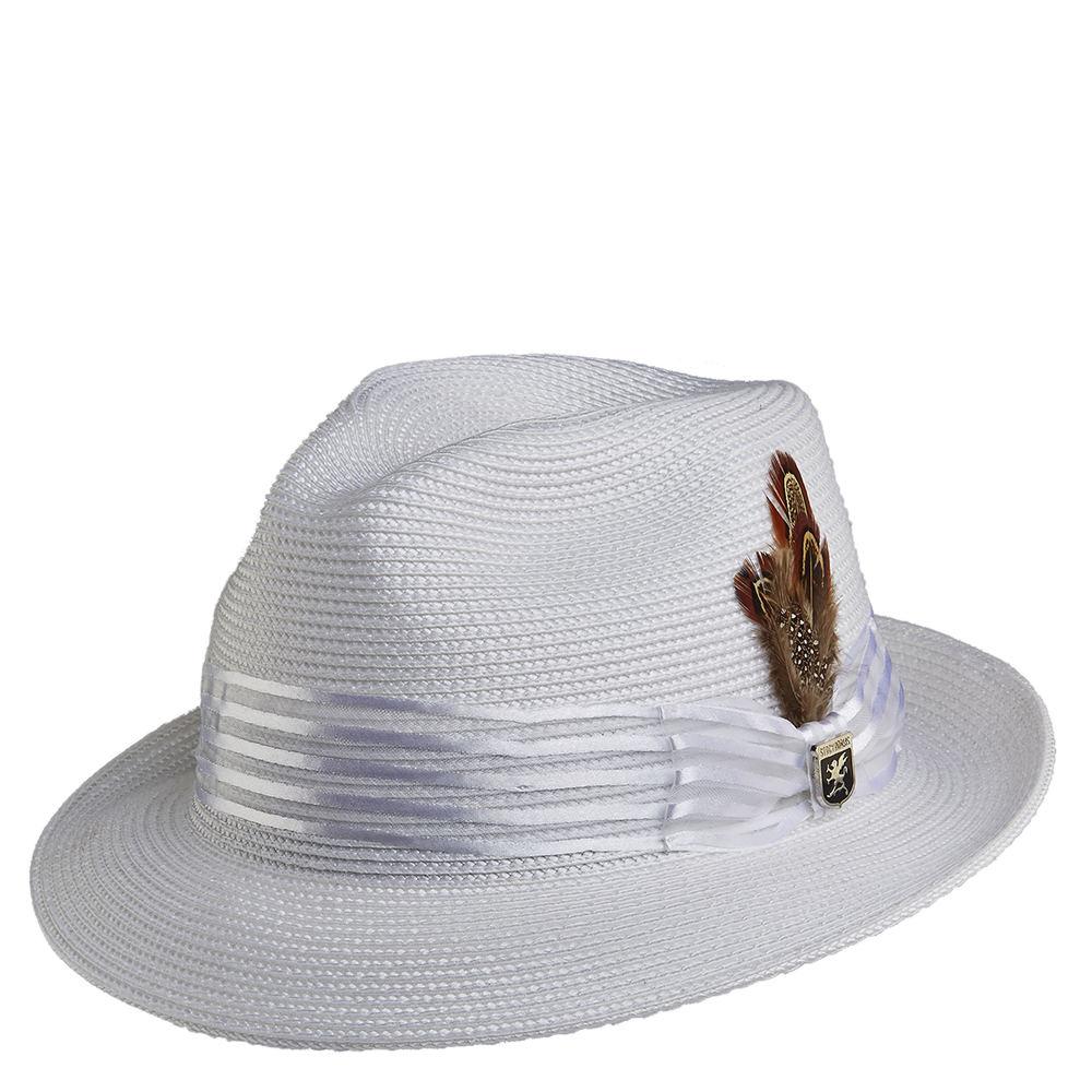 Stacy Adams Men's Pinch Front Poly Braid Fedora White Hat...