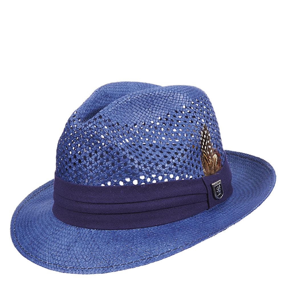 Stacy Adams Men's Toyo Open Weave Fedora Navy Hats XL