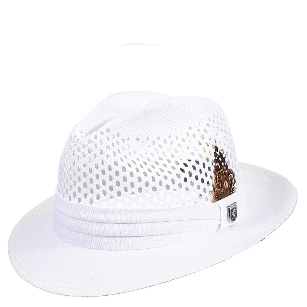 Stacy Adams Men's Toyo Open Weave Fedora White Hats M